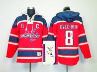 Autographed Washington Capitals -8 Alex Ovechkin Red Sawyer Hooded Sweatshirt Stitched NHL Jersey