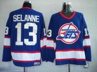 Winnipeg Jets -13 Teemu Selanne Stitched Blue CCM Throwback NHL Jersey