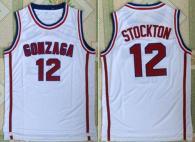 Utah Jazz -12 John Stockton White Gonzaga Bulldogs College Stitched NBA Jersey