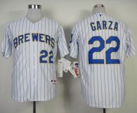 Milwaukee Brewers -22 Matt Garza White blue strip  Stitched MLB Jersey