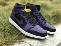 Authentic Air Jordan 1 Black Purple