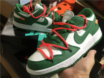 Authentic OFF-WHITE x Nike Dunk Low White-Green-Pink GS