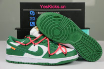 Authentic OFF-WHITE x Nike Dunk Low White/Pine Green