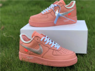 Authentic Off-White x Nike Air Force 1 Low Washed Coral/Silver