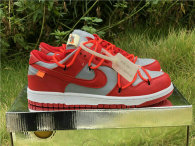 Authentic OFF-WHITE x Futura x Nike Dunk RED Grey GS