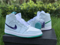 Authentic Air Jordan 1 Mid White/Green-Purple-Blanc