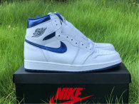 Authentic Ai Jordan 1 High White/Midnight Navy Blanc