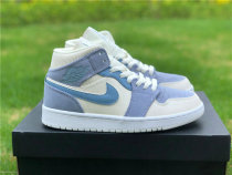 Authentic Air Jordan 1 Mid Bone/Light Grey/Blue