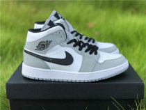 "Authentic Air Jordan 1 Mid ""Light Smoke Grey"""