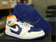 Authentic Air Jordan 1 Mid White/Deep Royal Blue-Track Red-Laser Orange