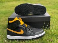 Authentic Air Jordan 1 Mid Black/Yellow GS