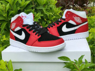 Authentic Air Jordan 1 Mid Gym Red/White-Black GS