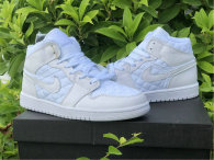 "Authentic Air Jordan 1 Mid ""White Quilted"" GS"