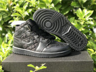 "Authentic Air Jordan 1 Mid ""Black Quilted"""