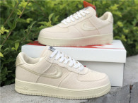 Authentic Stussy x Nike Air Force 1 Low Fossil Stone