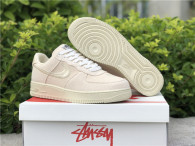 Authentic Stussy x Nike Air Force 1 Low Fossil Stone GS