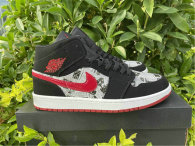 Authentic Air Jordan 1 Mid Black/Red -White Noir GS
