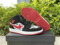 Authentic Air Jordan 1 Mid Black/Red -White Noir