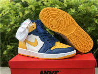 Authentic Air Jordan 1 Mid White/Yellow/Blue GS