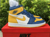 Authentic Air Jordan 1 Mid White/Yellow/Blue