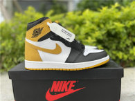Authentic Air Jordan 1 White/Black/Yellow GS