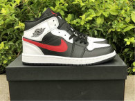 Authentic Air Jordan 1 Mid White/Black/Red