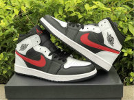 Authentic Air Jordan 1 Mid White/Black/Red GS