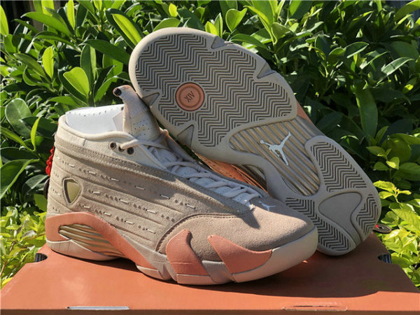 Authentic Clot x Air Jordan 14 Low Sepia Stone/Terra Blush