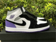 Authentic Air Jordan 1 Mid Black/Purple/White/Grey