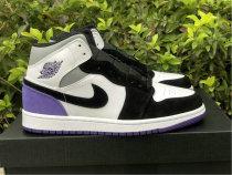 Authentic Air Jordan 1 Mid Black/Purple/White/Grey