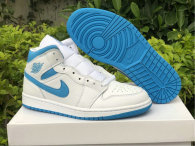 Authentic Air Jordan 1 Mid White/DK Powdr Blue