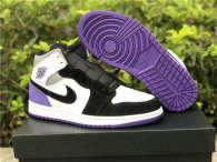 Authentic Air Jordan 1 Mid GS Black/Purple/White/Grey