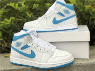 Authentic Air Jordan 1 Mid GS White/DK Powdr Blue