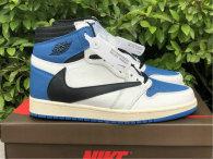 "Authentic Travis Scott x Fragment x Air Jordan 1 High OG SP ""Military Blue"" GS"
