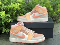 Authentic Air Jordan 1 Mid Atomic Orange/Apricot Agate-Terra Blush