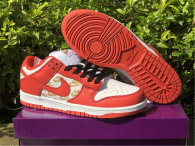 Authentic Supreme x Nike SB Dunk Low White/Metallic Gold-Red