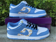 Authentic Supreme x Nike SB Dunk Low White/Metallic Gold-Blue (women)