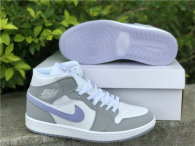 Authentic Air Jordan 1 Mid WMNS Grey/White/Icy Soles GS