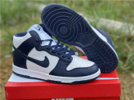 Authentic Nike Dunk High White/Dark Blue