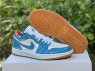 Authentic Air Jordan 1 Low Light Teal Blue/White