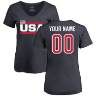 USA Women's Personalized Name & Number T-Shirt - Navy