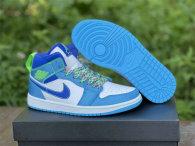 Authentic Air Jordan 1 GS Mid Neon Green/Light Blue/Royal Blue