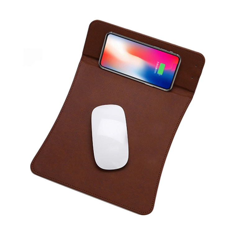universal leather qi wireless charger mouse pad with holder