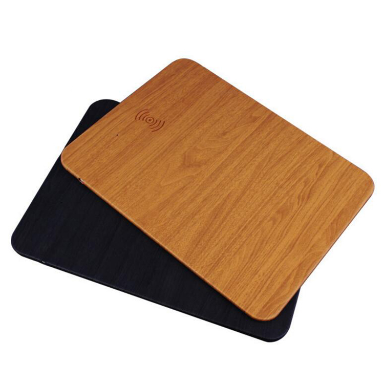 wood grain PU leather multifunctional charging mousepad 10W fast wireless charger mouse pad
