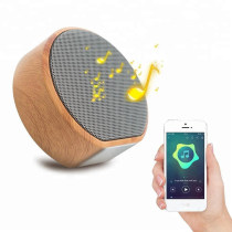 mini round wood outdoor portable bluetooth bass wireless speaker