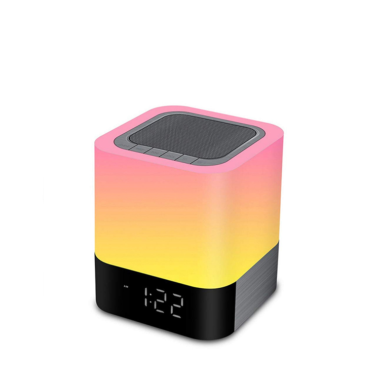 Touch LED Light Portable Bluetooth Wireless Speaker Stereo Sound Bass Alarm Clock TF AUX Music Player Loudspeakers