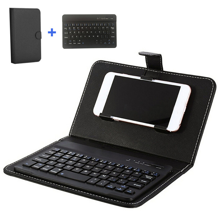 Bluetooth Wireless Keyboard with Leather Case Cover Stand For 4.5-6.5inch Tablets and phone