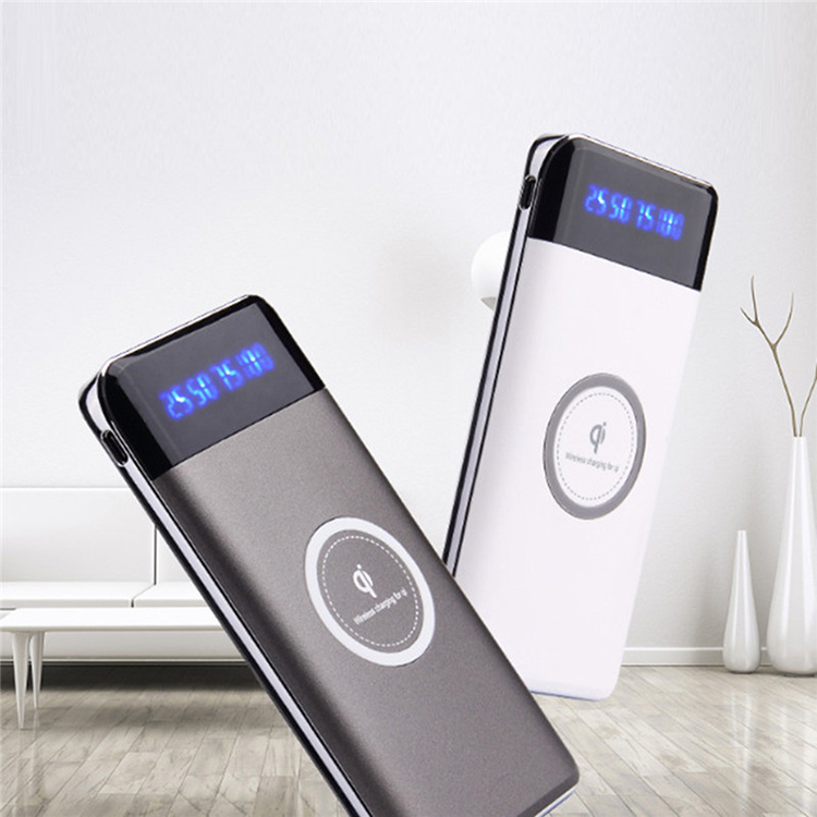 Portable 10000mah Power Bank Wireless Powerbank with LED Power Display