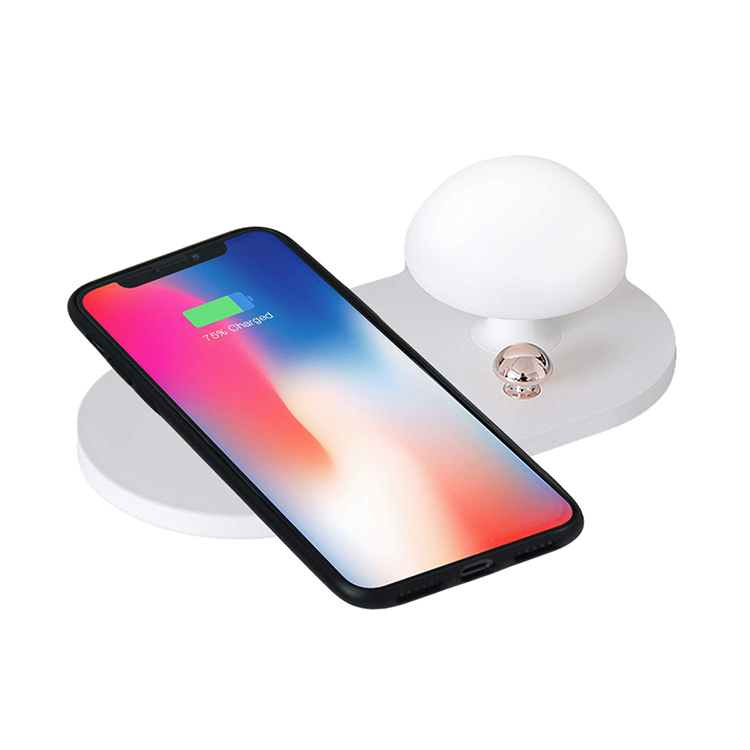 10W Qi Wireless Charger with Touch-Control Silicone Mushroom Night Light Wireless Charging Pad