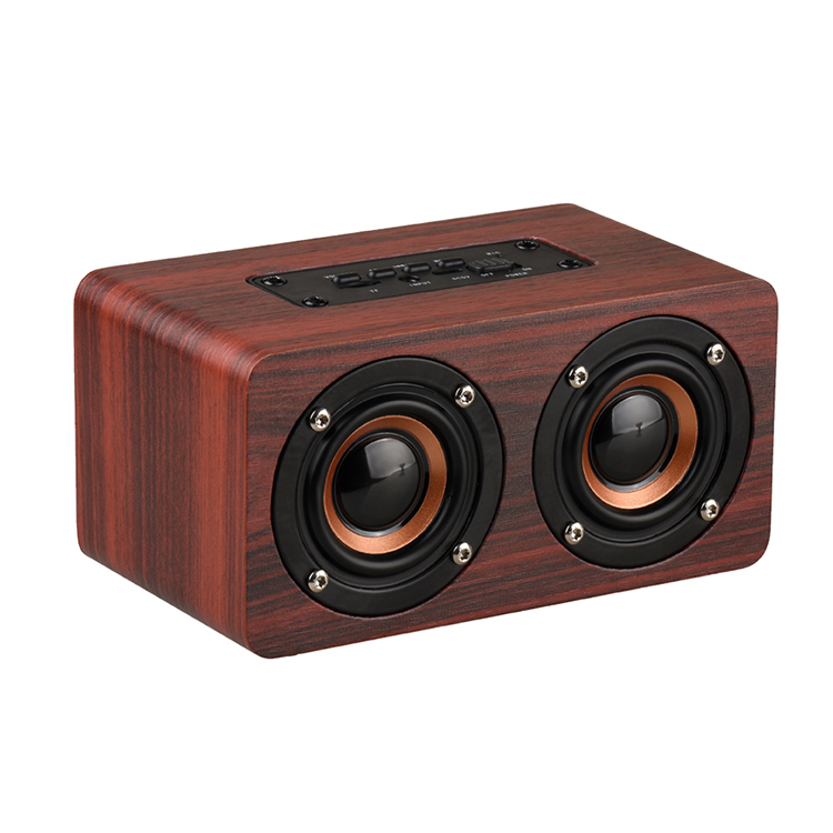 Portable HiFi Shock Bass 10W Dual Driver Speakers Support TF Card AUX Wood Wireless Speaker